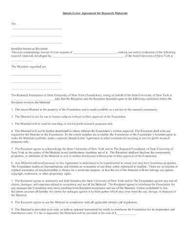 simple research letter agreement template