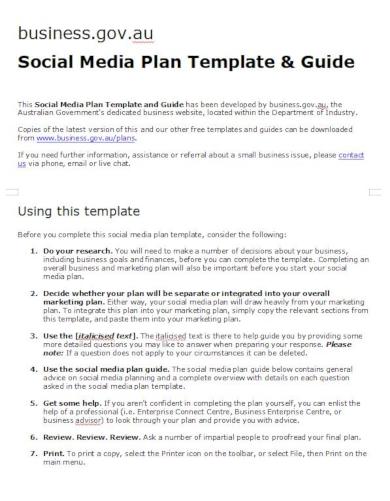 simple social media plan template