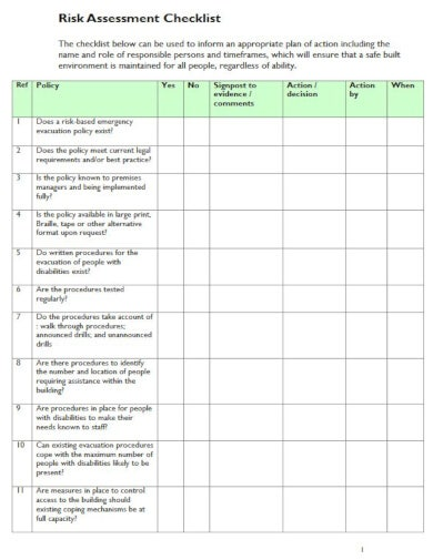 simple template for risk checklist
