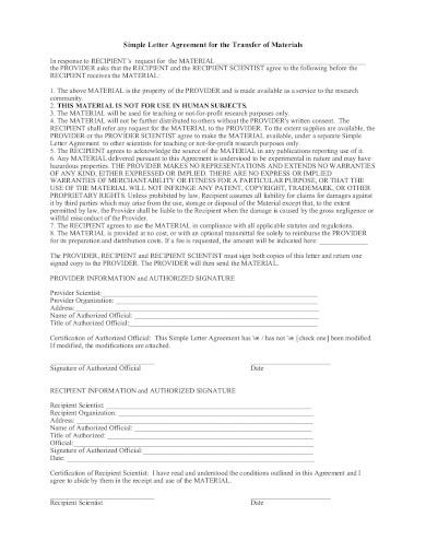 simple transfer letter agreement in pdf