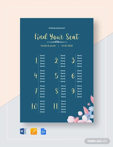 simple wedding seating chart template