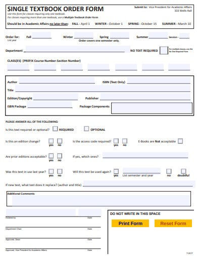 single textbook order form