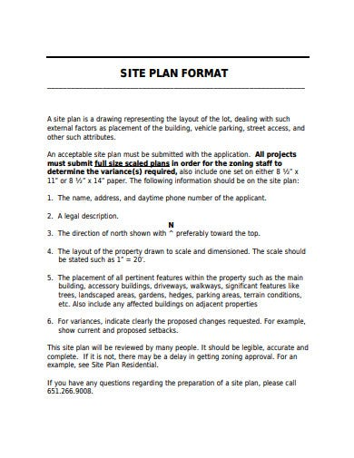 site plan format example