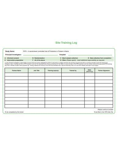 site training log template