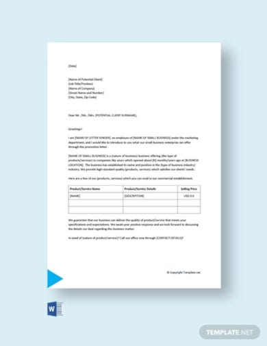 small business promotion letter