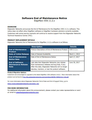 software end of maintenance notice template
