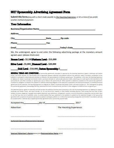 sponsership advertising agreement form template