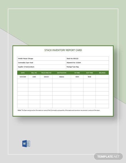 stack inventory report card template