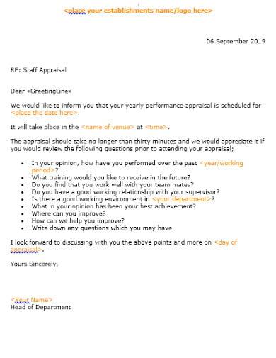 7  appraisal letter templates in google docs