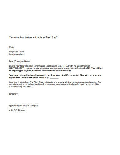 staff termination letter example