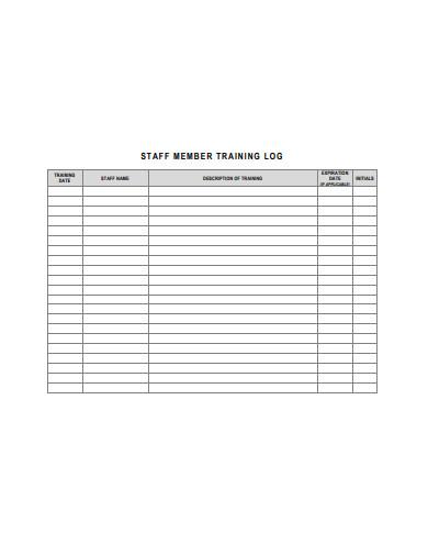 staff training log template