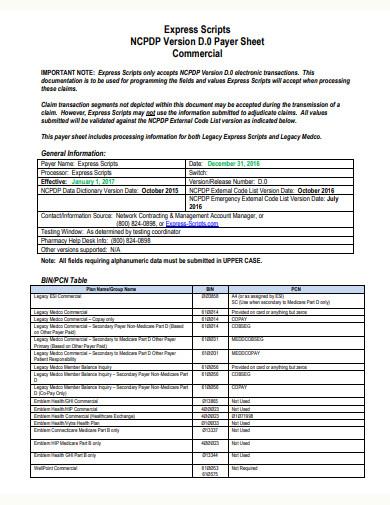 standard commercial sheet