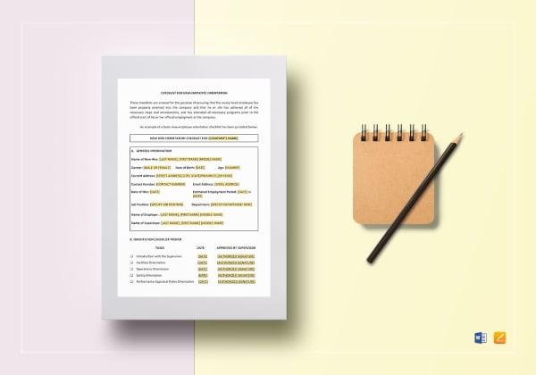 standard orientation checklist template