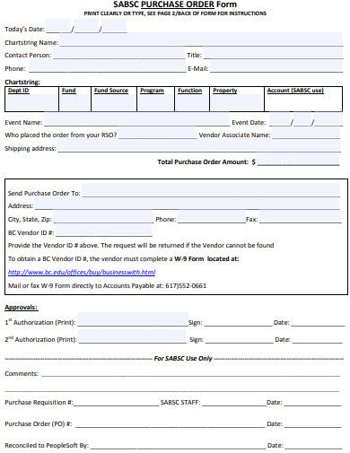 standard purchase order form