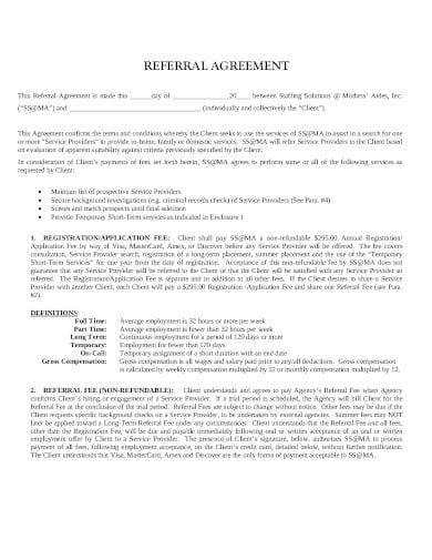 standard referral agreement template