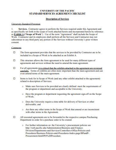 standard service agreement checklist format