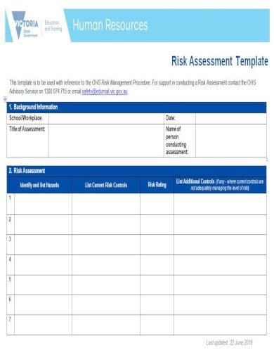 standard template for risk management checklist