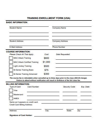 standard-training-enrollment-form-example