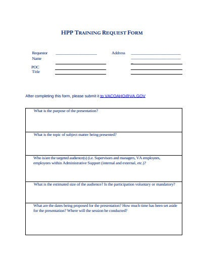 standard training request form template