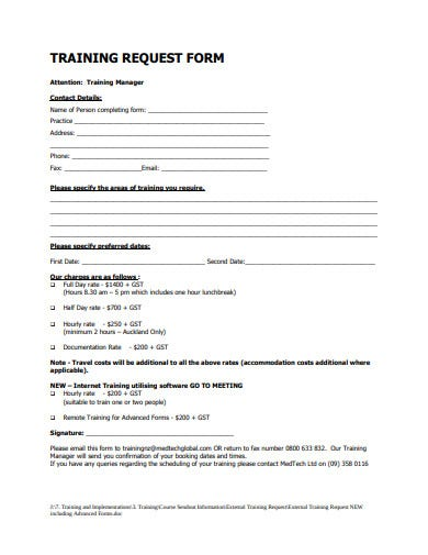 standard training request form in pdf