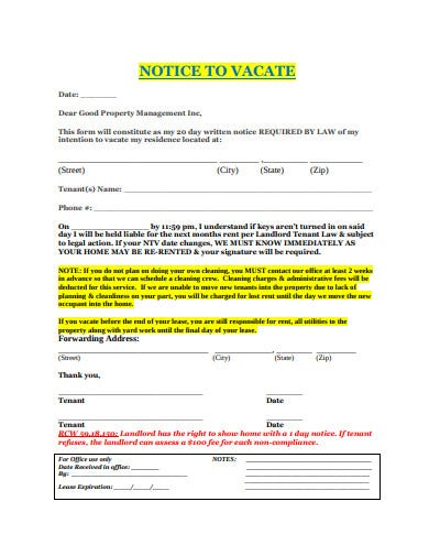 standard vacate letter