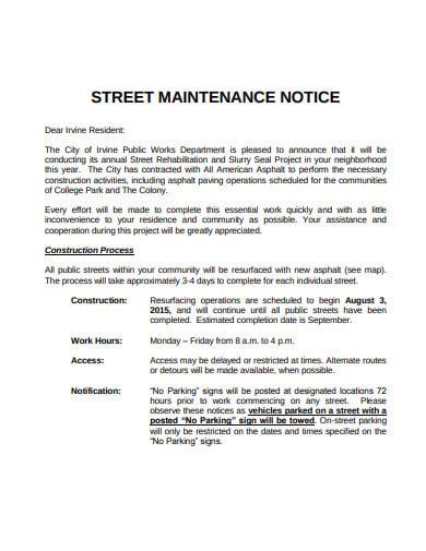 street maintenance notice template
