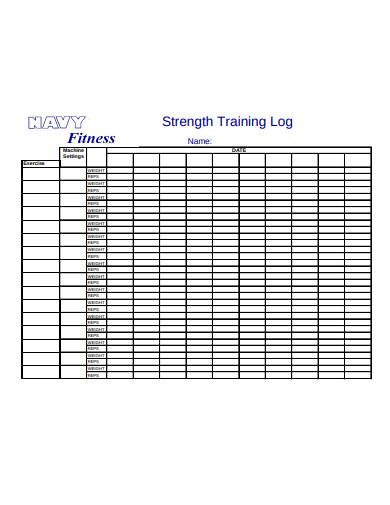 strength training log example