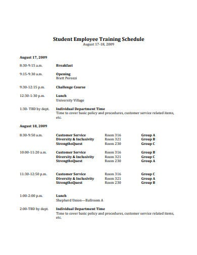 student employee training schedule template