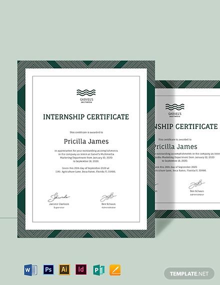 student internship certificate template 2