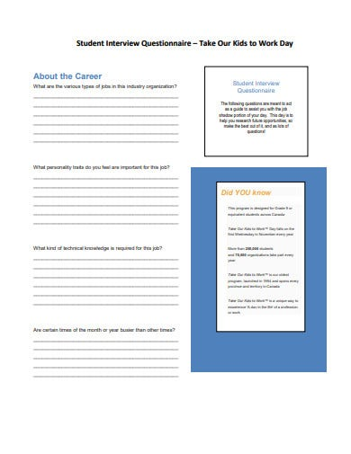 student interview questionnaire template