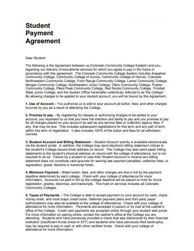 student payment agreement