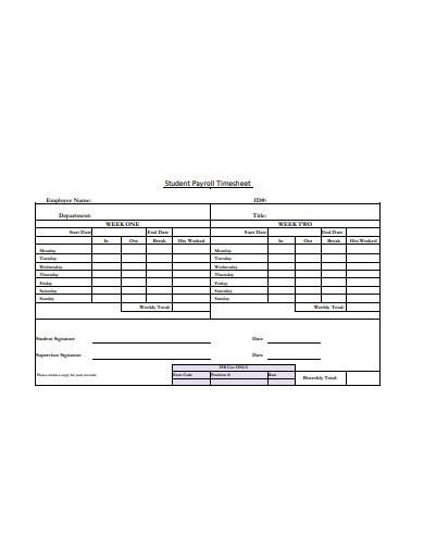 student payroll timesheet template