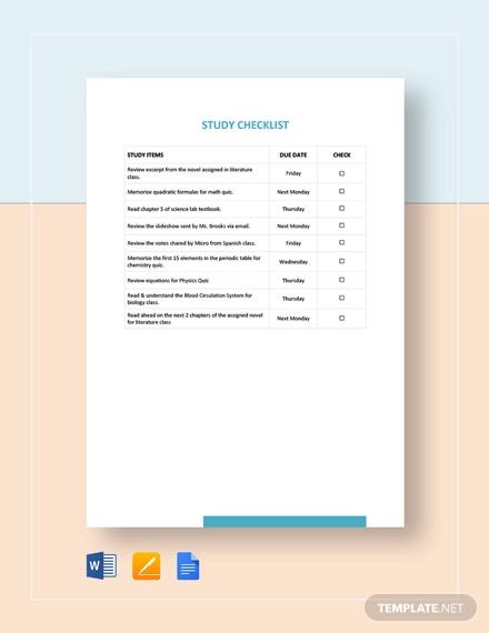 study checklist template
