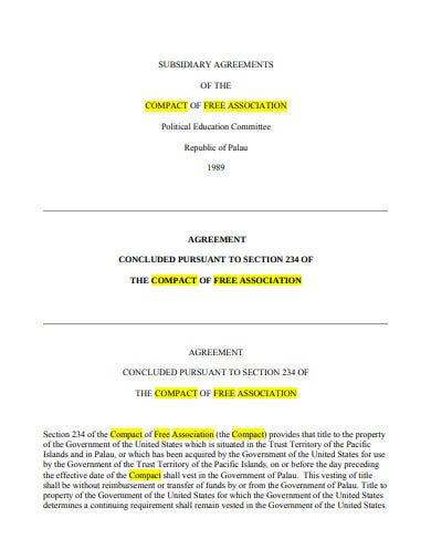 subsidiary agreement template in pdf