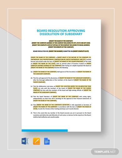 subsidiary agreement template1