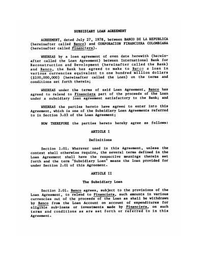 subsidiary loan agreement