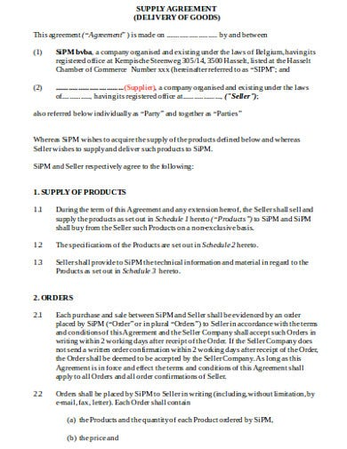 supply agreement template1