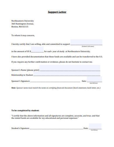 support letter sample