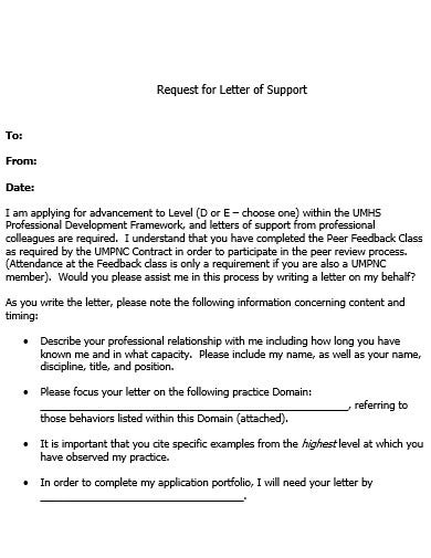 support request letter template