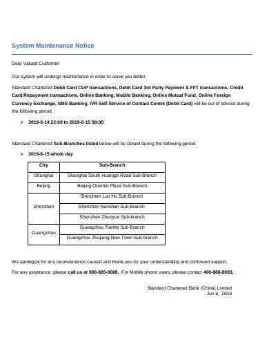 system maintenance notice template