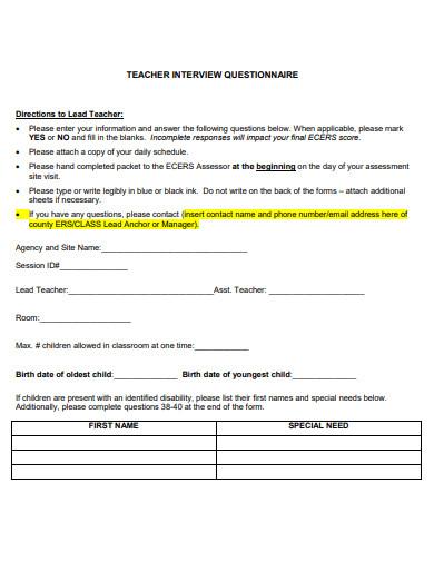 teacher interview questionnaire
