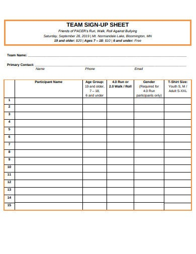 team sign up sheet example