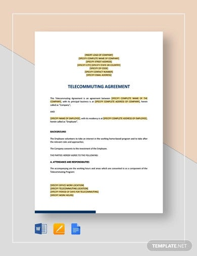 telecommuting agreement template
