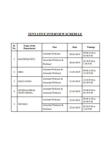 tentative interview schedule
