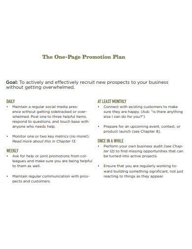 the one page promotion plan