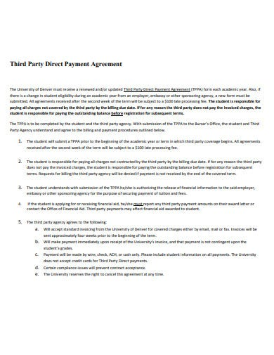 third party direct payment agreement