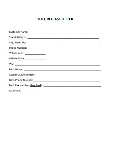 title release letter