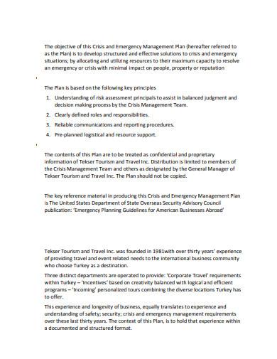 tourism crisis management plan template