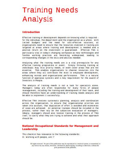 training-analysis-checklist-template