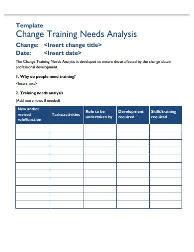 training analysis form template